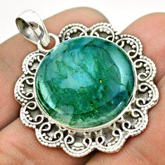 925 sterling silver 19.53cts natural green moss agate round pendant t53354