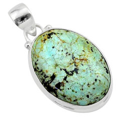 925 sterling silver 13.15cts natural green norwegian turquoise pendant t39329