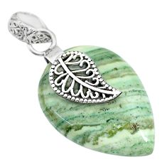 925 sterling silver 16.92cts natural green opal deltoid leaf pendant r91413
