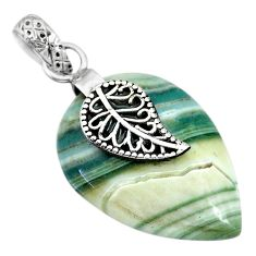 925 sterling silver 17.52cts natural green opal deltoid leaf pendant r91420