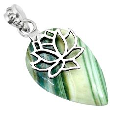925 sterling silver 18.97cts natural green opal flower pendant jewelry r91416
