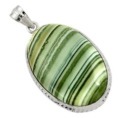 925 sterling silver 33.12cts natural green opal oval pendant jewelry r30564