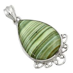 925 sterling silver 24.16cts natural green opal pear pendant jewelry r31895