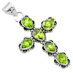 925 sterling silver 10.39cts natural green peridot holy cross pendant r55810