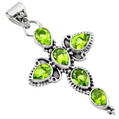 925 sterling silver 10.41cts natural green peridot holy cross pendant r55843