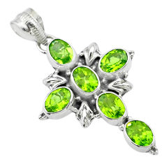 925 sterling silver 9.89cts natural green peridot oval holy cross pendant t53083