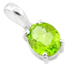 925 sterling silver 2.13cts natural green peridot oval pendant jewelry r71440