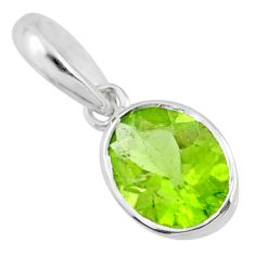 925 sterling silver 2.79cts natural green peridot oval pendant jewelry r71460