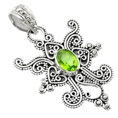 925 sterling silver 2.19cts natural green peridot oval pendant jewelry t30160