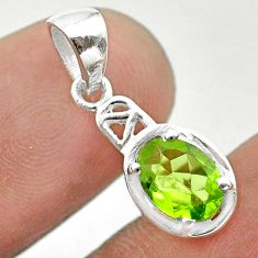 925 sterling silver 1.85cts natural green peridot oval pendant jewelry t51393