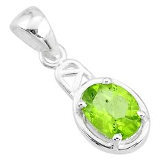 925 sterling silver 1.79cts natural green peridot oval pendant jewelry t7931