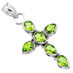 925 sterling silver 6.39cts natural green peridot pear cross pendant r55884