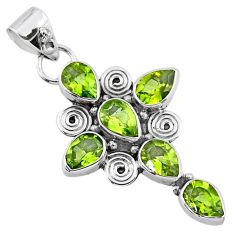925 sterling silver 9.05cts natural green peridot pear holy cross pendant r55790