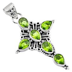 925 sterling silver 9.99cts natural green peridot pear holy cross pendant r55846