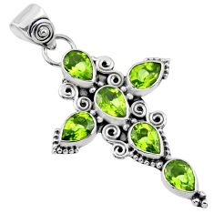 925 sterling silver 6.58cts natural green peridot pear holy cross pendant r55934