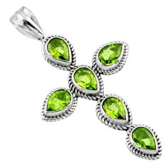 925 sterling silver 6.83cts natural green peridot pear holy cross pendant r55963