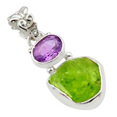 925 sterling silver 9.11cts natural green peridot rough amethyst pendant r29888