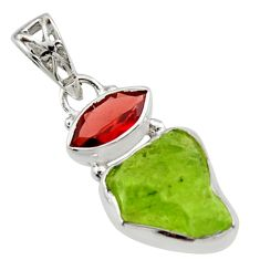 925 sterling silver 8.44cts natural green peridot rough garnet pendant r29828