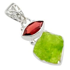 925 sterling silver 8.75cts natural green peridot rough garnet pendant r29840