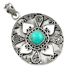 Clearance Sale- 925 sterling silver 3.21cts natural green peruvian amazonite pendant d45076