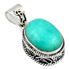 925 sterling silver 10.06cts natural green peruvian amazonite pendant r19056