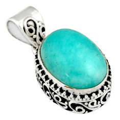 925 sterling silver 10.51cts natural green peruvian amazonite pendant r19059