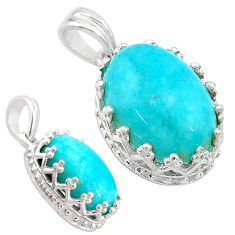 925 sterling silver 6.25cts natural green peruvian amazonite pendant t20504