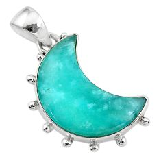 925 sterling silver 11.20cts natural moon peruvian amazonite pendant t21866