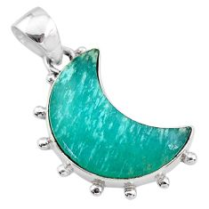925 sterling silver 10.58cts natural moon peruvian amazonite pendant t21877