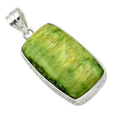 925 sterling silver 23.92cts natural green pietersite (african) pendant r32204