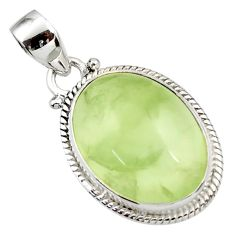 925 sterling silver 18.94cts natural green prehnite oval pendant jewelry d44784