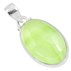 925 sterling silver 17.18cts natural green prehnite oval pendant jewelry r70407