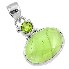 925 sterling silver 11.57cts natural green prehnite oval peridot pendant r70357