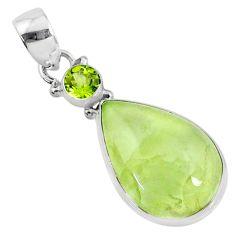 925 sterling silver 14.72cts natural green prehnite pear peridot pendant r70373