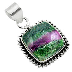 925 sterling silver 15.39cts natural green ruby zoisite pendant jewelry t44749