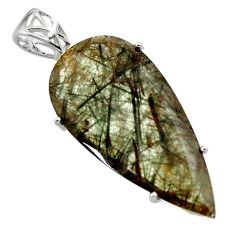 925 sterling silver 20.20cts natural green rutile pear pendant jewelry r48800
