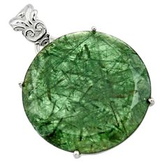 925 sterling silver 22.30cts natural green rutile round pendant jewelry r48794