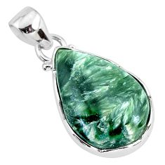925 sterling silver 11.17cts natural green seraphinite (russian) pendant r94577