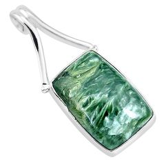 925 sterling silver 12.55cts natural green seraphinite (russian) pendant r94580