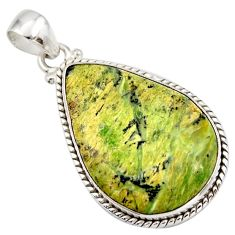 925 sterling silver 18.70cts natural green swiss imperial opal pendant d42324