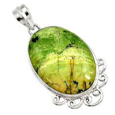 925 sterling silver 16.73cts natural green swiss imperial opal pendant r27678