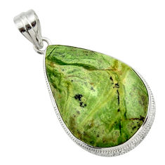 925 sterling silver 24.38cts natural green swiss imperial opal pendant r32178