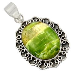 925 sterling silver 18.31cts natural green swiss imperial opal pendant r41815