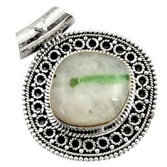 Clearance Sale- 925 sterling silver 17.36cts natural green tourmaline in quartz pendant d45031