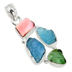 925 sterling silver 15.53cts natural green tourmaline opal fancy pendant r26899