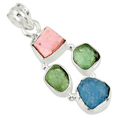925 sterling silver 13.66cts natural green tourmaline pink opal pendant r26891