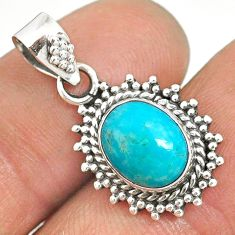 925 sterling silver 4.77cts natural green turquoise tibetan oval pendant r85145