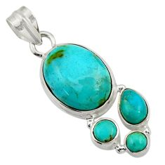 Clearance Sale- 925 sterling silver 12.96cts natural green turquoise tibetan pendant d42937