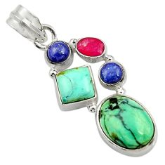925 sterling silver 11.66cts natural green turquoise tibetan ruby pendant d42915