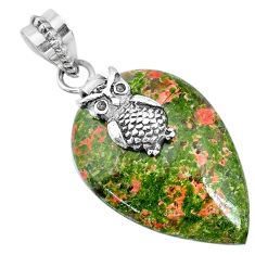 925 sterling silver 25.83cts natural green unakite pear owl pendant r74470